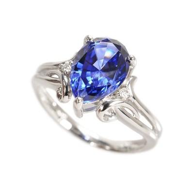 ブルーサファイア リング 指輪 プラチナ ペアシェイプ 9月誕生石 プレゼント クレサンベール 京セラ