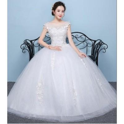 ロングドレス 花柄レース 編み上げ ブライダル ワンピース 冠婚 ロング丈ワンピース 綺麗 結婚式 花嫁 パーティードレス プリンセスライン ウエディングドレス