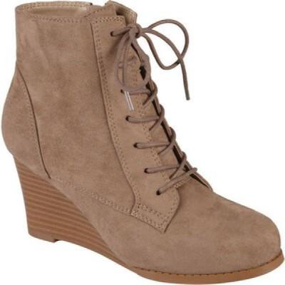 ジュルネ コレクション Journee Collection レディース ブーツ ウェッジソール シューズ・靴 Magely Wedge Heel Bootie Taupe Faux Suede