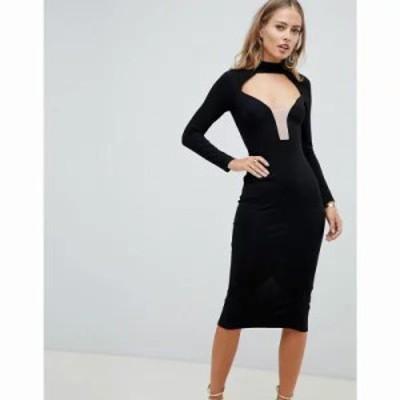 エイソス ボディコンドレス curved plunge open back bodycon midi dress Black