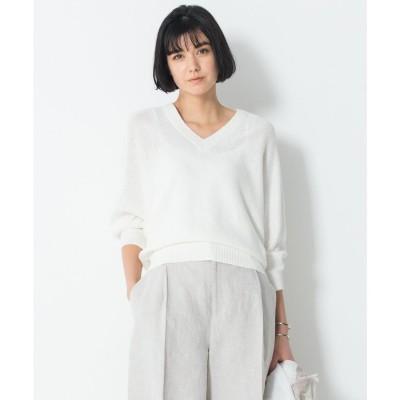 23区 【洗える】フレンチフラックス ドルマン ニット (ホワイト系)
