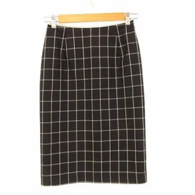 【中古】マミーナ MAMMINA スカート ひざ丈 チェック 紺 白 M *A82 レディース