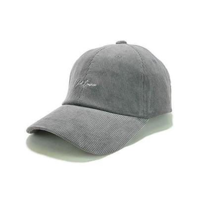 Smart Hat Factry distance 刺繍 コーデュロイ ローキャップ メンズ レディース ユニセックス サイズ調節 グレー