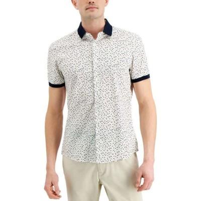 マイケル コース Michael Kors メンズ シャツ スキニー・スリム トップス Slim-Fit Stretch Geo-Print Shirt White
