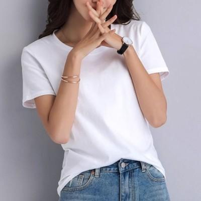 Tシャツ 半袖 レディース 夏 クルーネック 無地 綿 コットン カラバリ