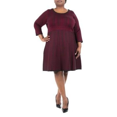 ニナレオナルド レディース ワンピース トップス Geometric Print Sweater Dress WINE/BLACK