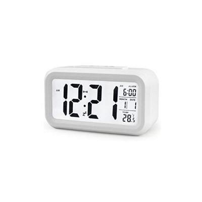 LED 目覚まし時計 モダクロZ 《ホワイト》 光センサー バックライト 温度 おしゃれ シンプル(定形外郵便、代引不可、送料別商品)