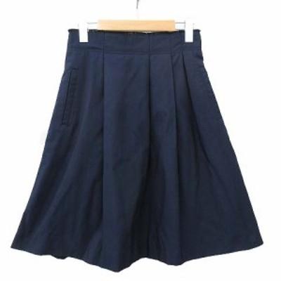 【中古】マカフィー MACPHEE トゥモローランド スカート 膝丈 タック フレア 36 紺 ネイビー R052831 レディース