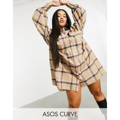 エイソス レディース ワンピース トップス ASOS DESIGN Curve oversized boyfriend mini shirt dress in check