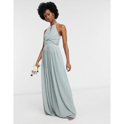 ティエフエヌシー レディース ワンピース トップス TFNC bridesmaid pleated wrap detail maxi dress in sage Sage