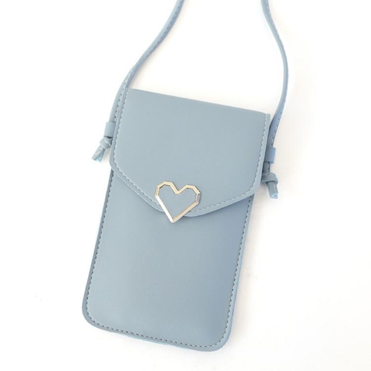 ECLARE&MIEL-心形裝飾透明可觸控斜背手機包(五色)【CB073】