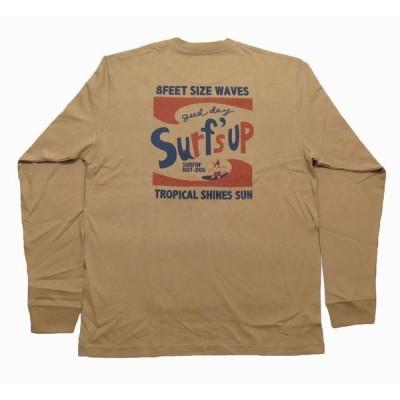 長袖 Tシャツ ロンT メンズ  サーフズアップ  サーフブランド SURF'S UP  (メンズ/ベージュ) 204SU1LT141 ハワイアン雑貨 メール便対応可
