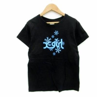 【中古】エックスガール x-girl Tシャツ カットソー 半袖 ラウンドネック ロゴプリント 薄手 1 ブラック レディース