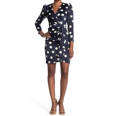 ロンドンタイムス レディース ワンピース トップス Charmeuse Dot Print Wrap Dress NAVYIVORY