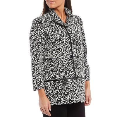 マルチプルズ レディース Tシャツ トップス Petite Size Animal Print Jacquard Cowl Neck 3/4 Sleeve Faux Leather Trim Knit Top