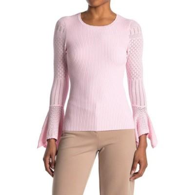 オウタムカシミア レディース ニット&セーター アウター Pointelle Ruffle Cuff Ribbed Sweater PEONY