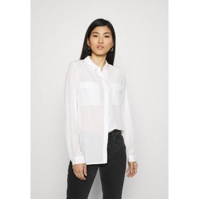 アンナフィールド シャツ レディース トップス Basic Blouse with front pockets - Button-down blouse - offwhite