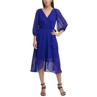 ダナ キャラン ニューヨーク ワンピース トップス レディース Balloon Sleeve V-Neck Wrap Dress Berry Blue