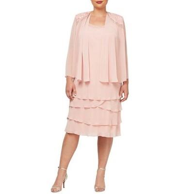 イグナイト レディース ワンピース トップス Plus Size Beaded Lace Shoulder Chiffon Jacket Dress