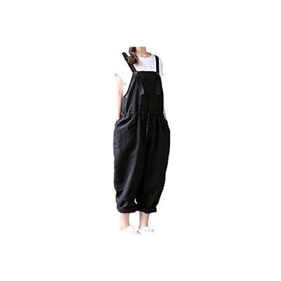 [ジルア] サロペット サルエル パンツ 留めボタン オーバーオール M 〜 3XL 黒 ブラック ゆったり シンプル 大きい サイズ レディース れ