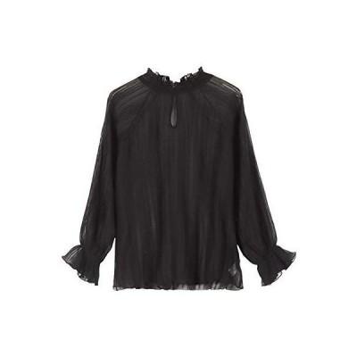 KOBE LETTUCE ストライプ シアー ブラウス [C4973] レディース 長袖 ワンサイズ(M) ブラック