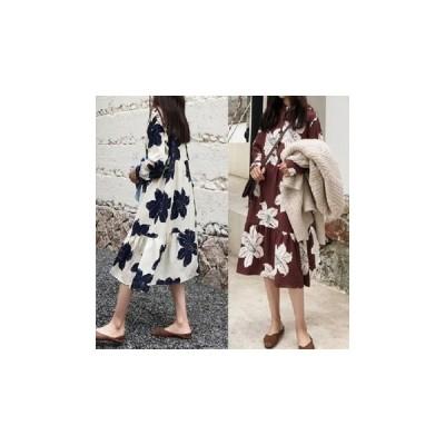 ワンピース シャツワンピース 花柄 長袖 大人 お出かけ fe-0293