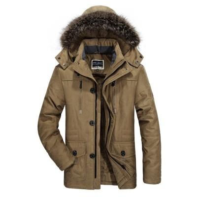 メンズ 保温ジャケット 裏起毛 フード付き 秋冬コート 中綿ブルゾン ハイネック 大きめ ポケットあり ボア付き 分厚い ショート丈 男性