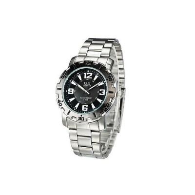 腕時計 キューアンドキュー NEW Q&Q by Citizen Q616J405Y Black Dial Stainless Steel Men's Watch