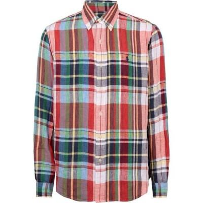 ラルフ ローレン POLO RALPH LAUREN メンズ シャツ トップス classic fit plaid linen shirt checked shirt Red