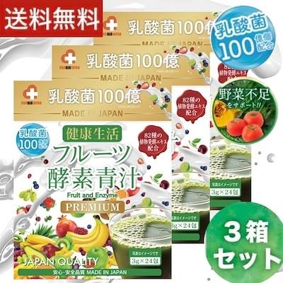 3個セット 乳酸菌フルーツ酵素青汁 3g24包 100億個の乳酸菌入り  82種の植物発送エキス配合