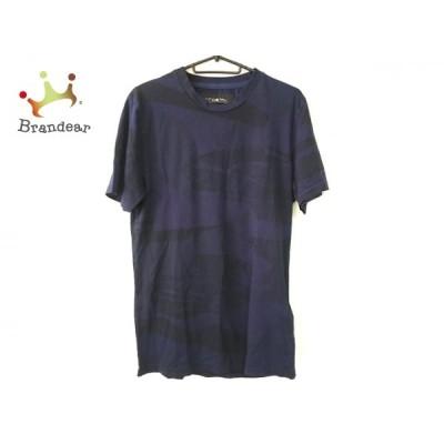 ハイドロゲン HYDROGEN 半袖Tシャツ サイズM メンズ 美品 - ダークネイビー×黒 クルーネック 新着 20201106