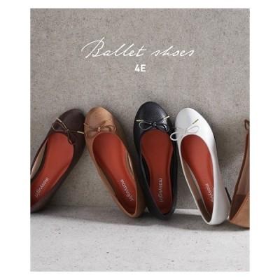 シューズ カジュアル 大きいサイズ レディース リボン付 バレエ ワイズ 4E 靴 23.5cm/4E〜26.5cm/4E ニッセン nissen