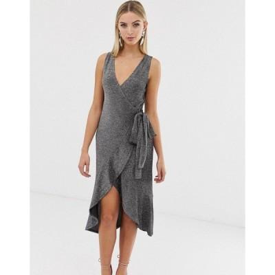 ラビッシュアリス レディース ワンピース トップス Lavish Alice wrap tiered drape front dress in metallic knit Silver & black