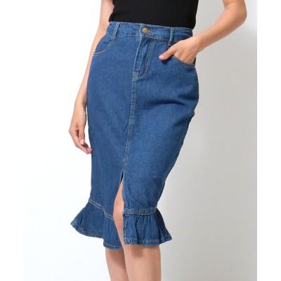 ANAP / フリルヘムセンタースリットデニムスカート WOMEN スカート > デニムスカート