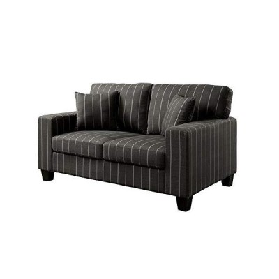 Furniture of America Jewell Contemporary Fabric Pinstripe Loveseat in Dark Gray