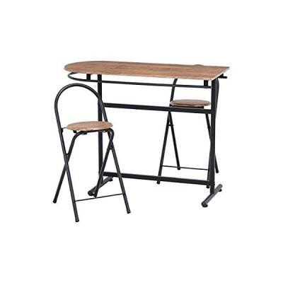 【大型商品】ダイニングテーブル 2人掛けカウンター3点セット棚なし、すっきりタイプ (ブラウン13899)