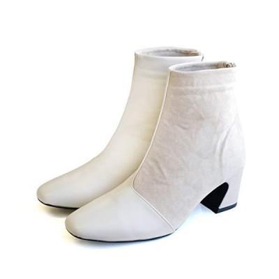 [アミアミ] スクエアトゥ 異素材切り替え ショート ブーツ 6センチヒール レディース (S(22.5cm), アイボリー)