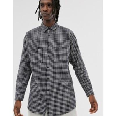 エイソス メンズ シャツ トップス ASOS DESIGN oversized super longline check shirt Navy