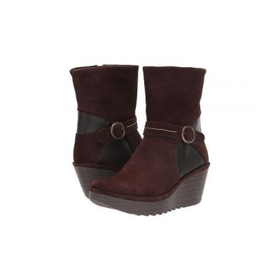 FLY LONDON フライロンドン レディース 女性用 シューズ 靴 ブーツ アンクルブーツ ショート YOME083FLY - Espresso/Chocolate Oil Suede/Mousse
