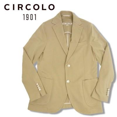 CIRCOLO 1901 チルコロ シングル ジャケット メンズ CN2531 ベージュ ジャージジャケット メタルボタン ライトジャージ ストレッチ