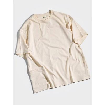 スクール SCHOOL ポケットTシャツ M-XLサイズ ベージュ 半袖 無地 バインダーネック ビッグシルエット オーバーサイズ SPAIN PIMA POCKET SS TEE -BEIGE-