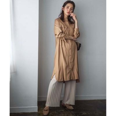 GeeRA 【WEB限定】ミリタリーデザインシャツワンピース グリーン M レディース