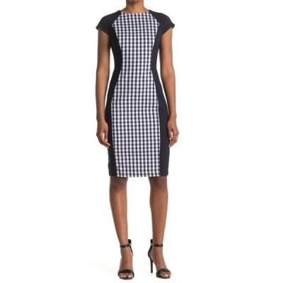マギーロンドン レディース ワンピース トップス Colorblock Cap Sleeve Sheath Dress NAVY/WHITE
