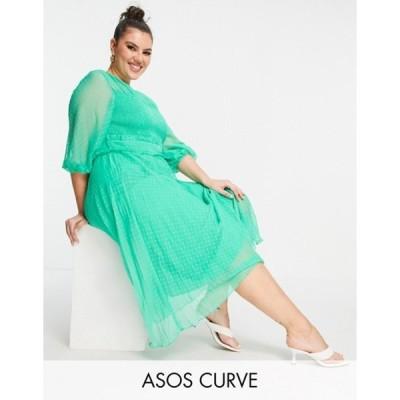 エイソス レディース ワンピース トップス ASOS DESIGN Curve textured pleated shirred midi dress in emerald green