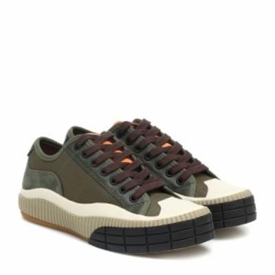 クロエ Chloe レディース スニーカー シューズ・靴 Clint leather-trimmed sneakers Deep Olive