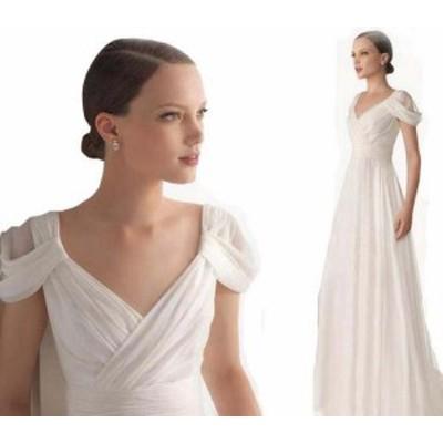 ウェディングドレス ワンピース Vネック 結婚式パーディ- 花嫁 ドレス ロング エンパイア レーン Vネック マーメイド ウェディン
