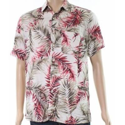 ファッション アウター Tasso Elba NEW Beige Mens Size Medium M Floral Print Button Down Shirt