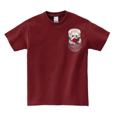 【ポメラニアン・日の丸・日本・ポケット 】メンズ 半袖 Tシャツ