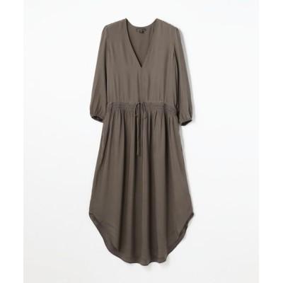 TOMORROWLAND/トゥモローランド シルクシャルムーズ Vネックドレス WFSC6433 16 チャコールグレー 0(S)