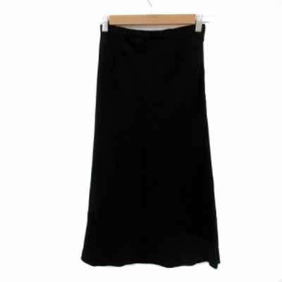 【中古】ストロベリーフィールズ STRAWBERRY-FIELDS スカート フレア ミモレ丈 無地 黒 ブラック /YS6 レディース